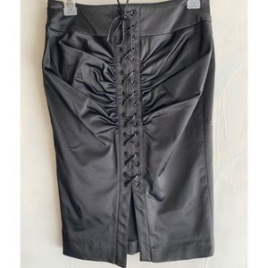 Bebe sexy lace up back satin skirt